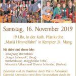 Cäcilienfeier und Cäcilienmesse der EUREGIO via salina im Allgäu mit Benefizkonzerten